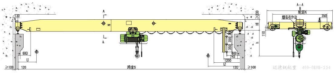 LDY电动冶金单梁起重机在LD电动单梁起重机基础上开发的产品,它与冶金电动葫芦配套使用,能满足吊运熔融金属的要求,其主梁刚度和强度及所有符合国家规范规定的吊运熔融金属的要求。 环境条件: LDY电动单梁起重机适合工厂矿、电站、仓库及车间使用。起重机的操作方式分为地面和操纵室两种。LD-A型电动单梁起重机不宜在易燃、易爆的介质中或具有很大湿度与酸、碱类气体的场所工作,也不适用于吊运熔化的金属、有毒物和易燃物的工作。 LDY电动冶金单梁起重机  技术参数: